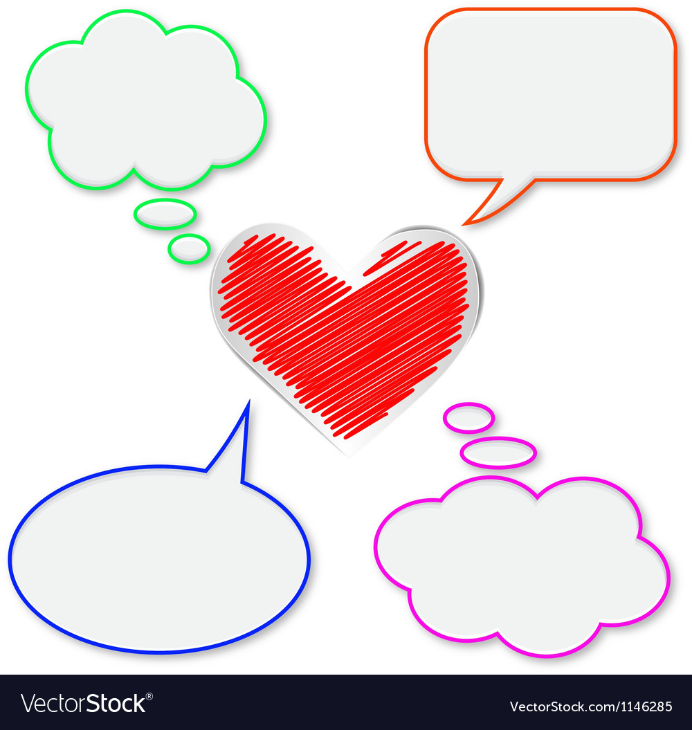 Blank bubbles and heart vector | Price: 1 Credit (USD $1)