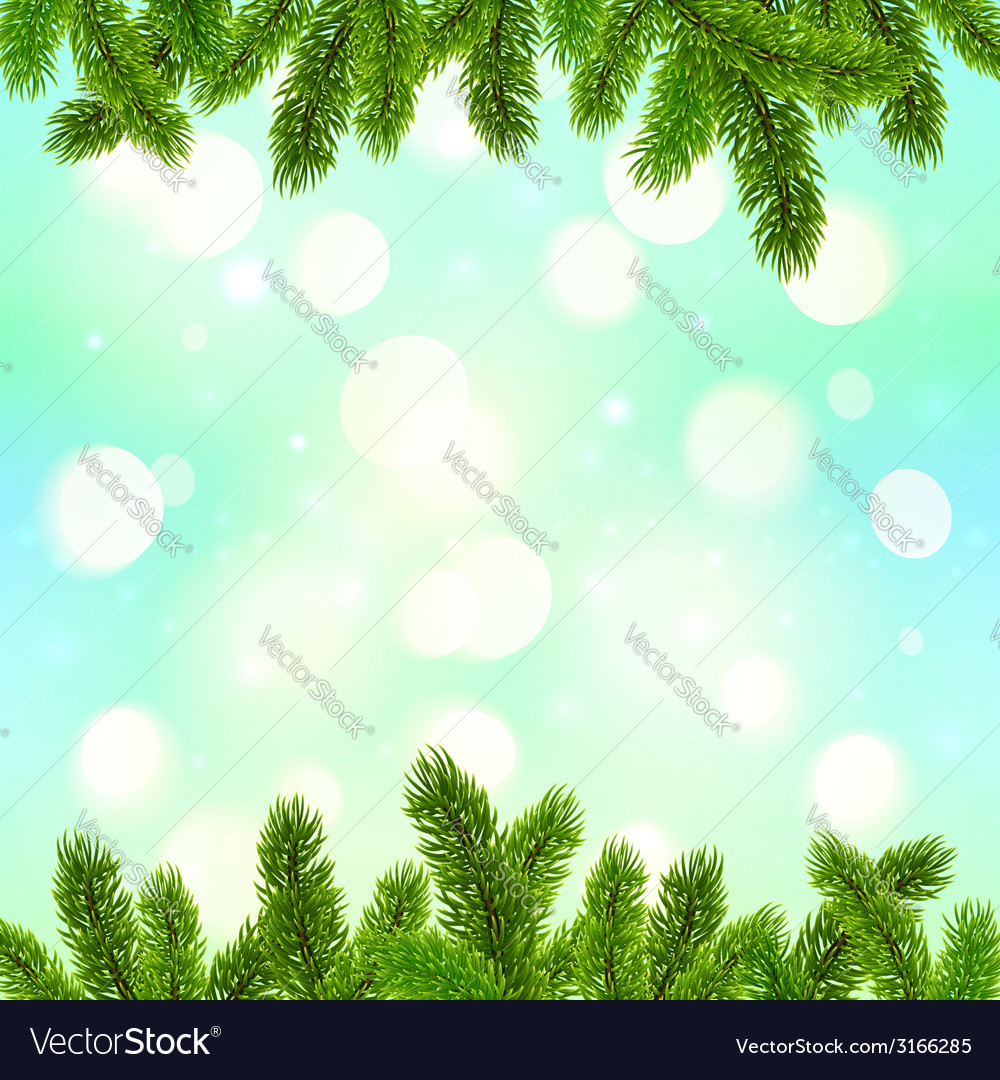 Blue bokeh light effect with fir tree branches vector | Price: 1 Credit (USD $1)
