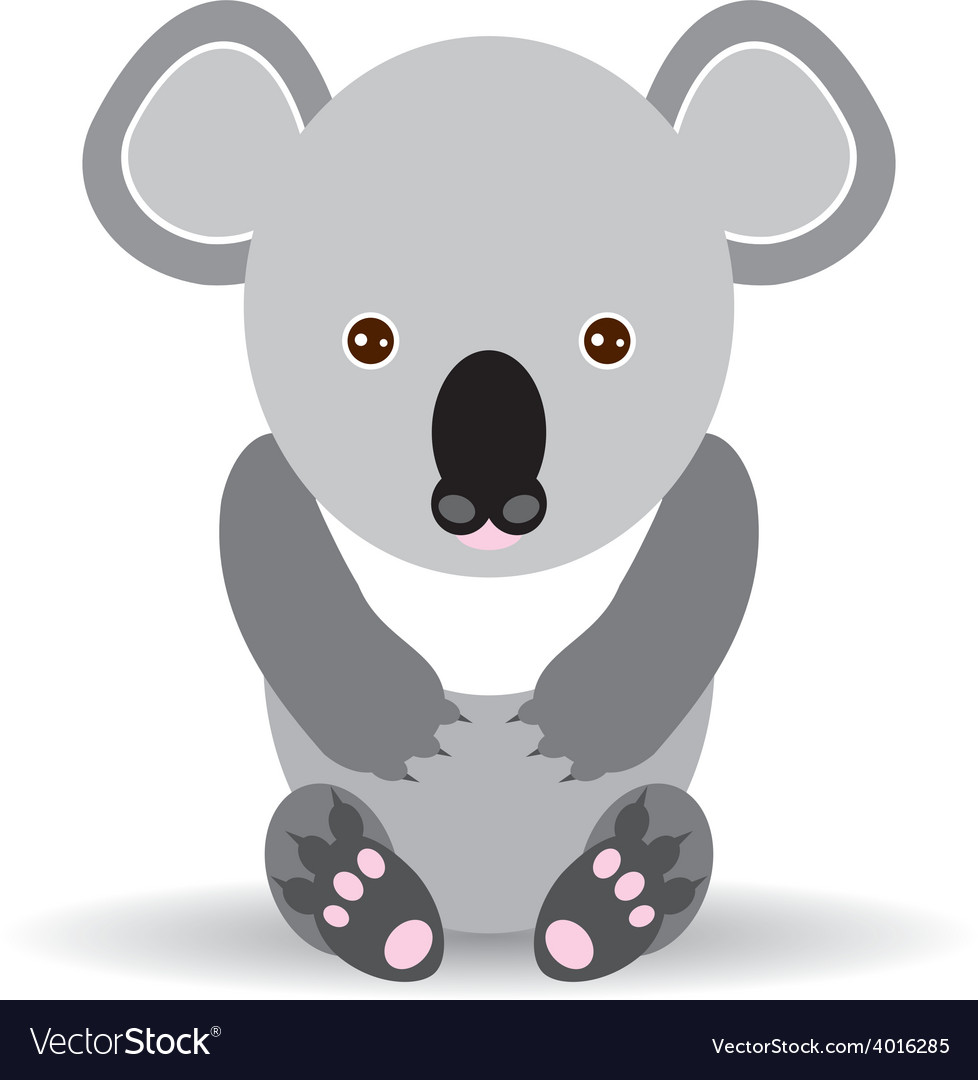 Cute cartoon koala on a white background vector | Price: 1 Credit (USD $1)