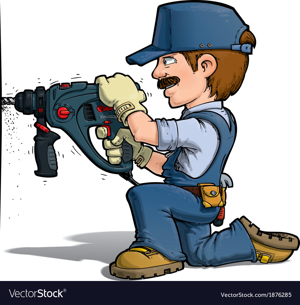 Handyman drilling blue vector | Price: 3 Credit (USD $3)