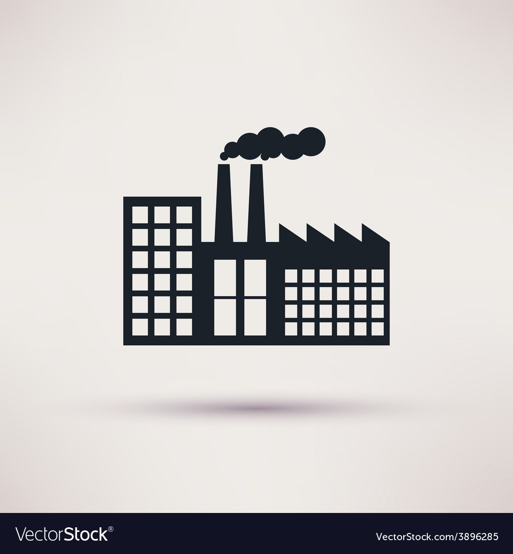 Industrial factory in a flat style icon vector | Price: 1 Credit (USD $1)