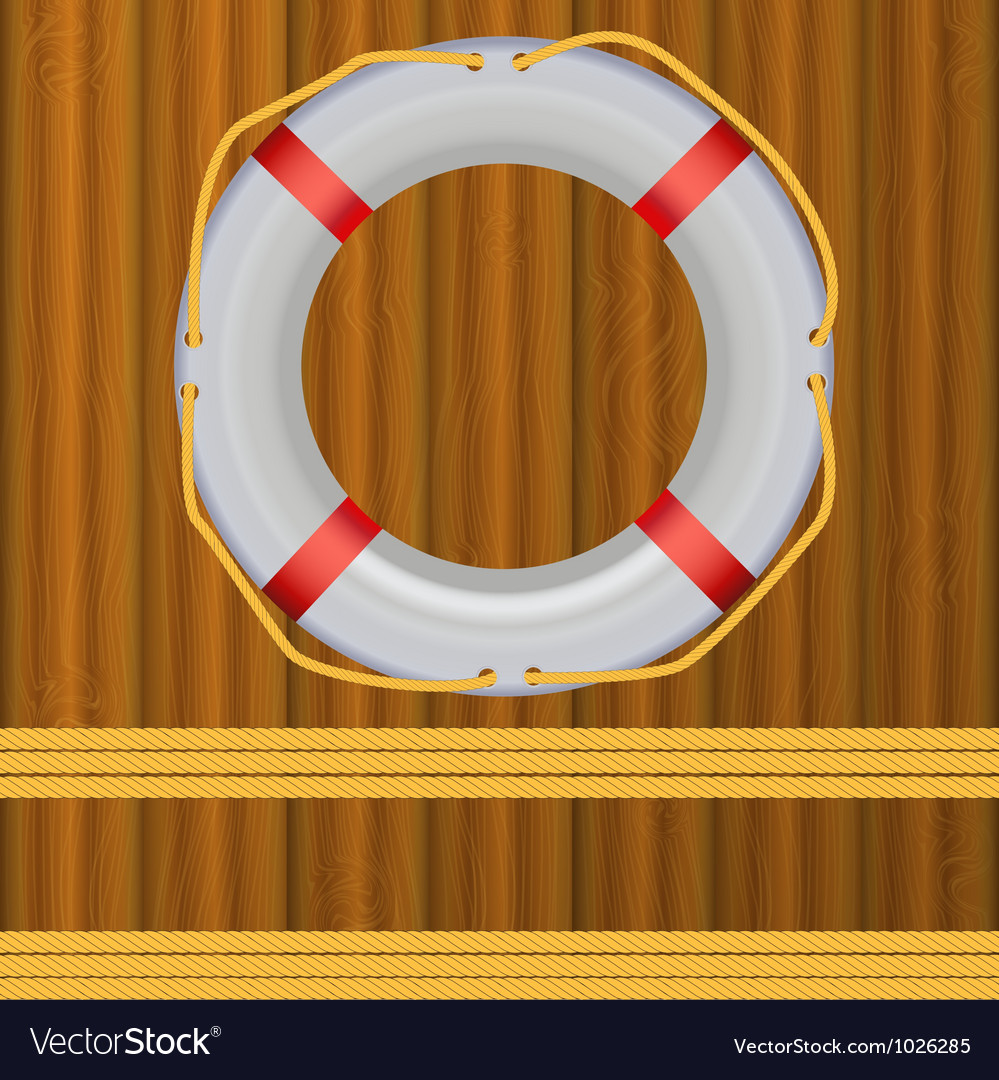 Life buoy on boards background ropes vector | Price: 1 Credit (USD $1)