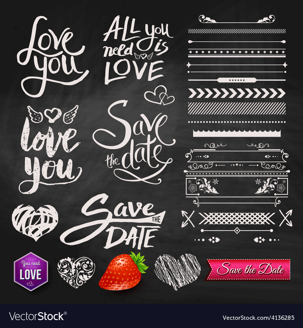 Love phrases borders and symbols on chalkboard vector | Price: 1 Credit (USD $1)