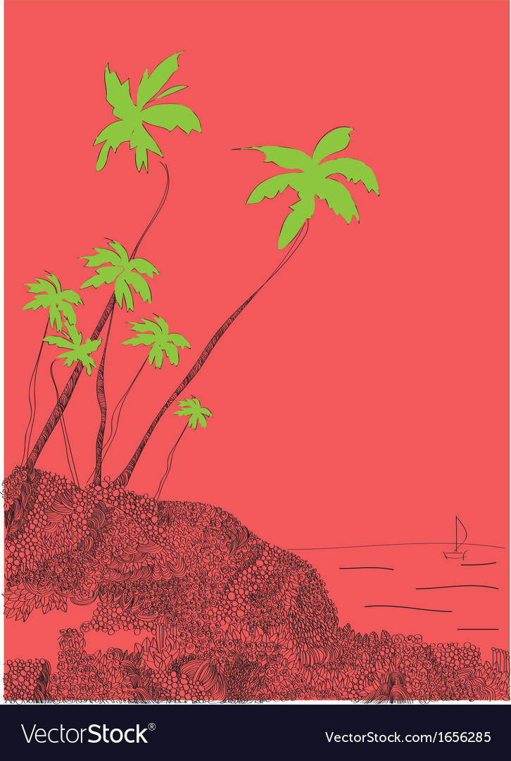 Palms and sun tropical goa india vector | Price: 1 Credit (USD $1)