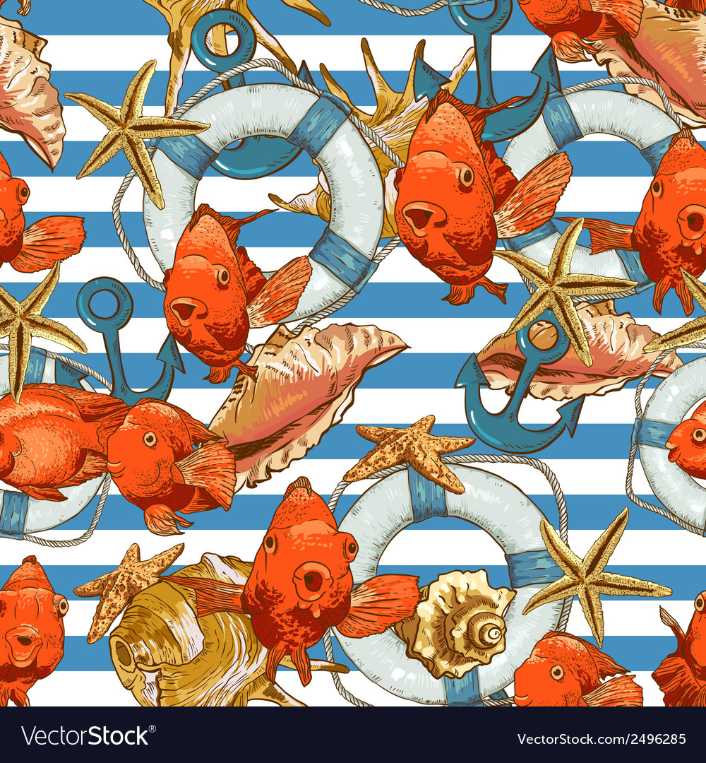 Seamless background with sea shells and fish vector | Price: 1 Credit (USD $1)