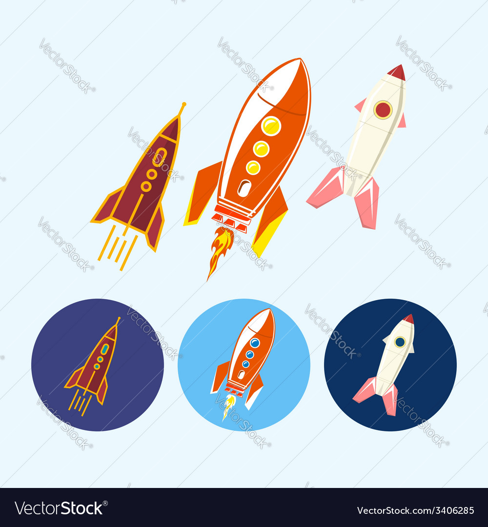 Set icons with spaceships rockets vector | Price: 1 Credit (USD $1)