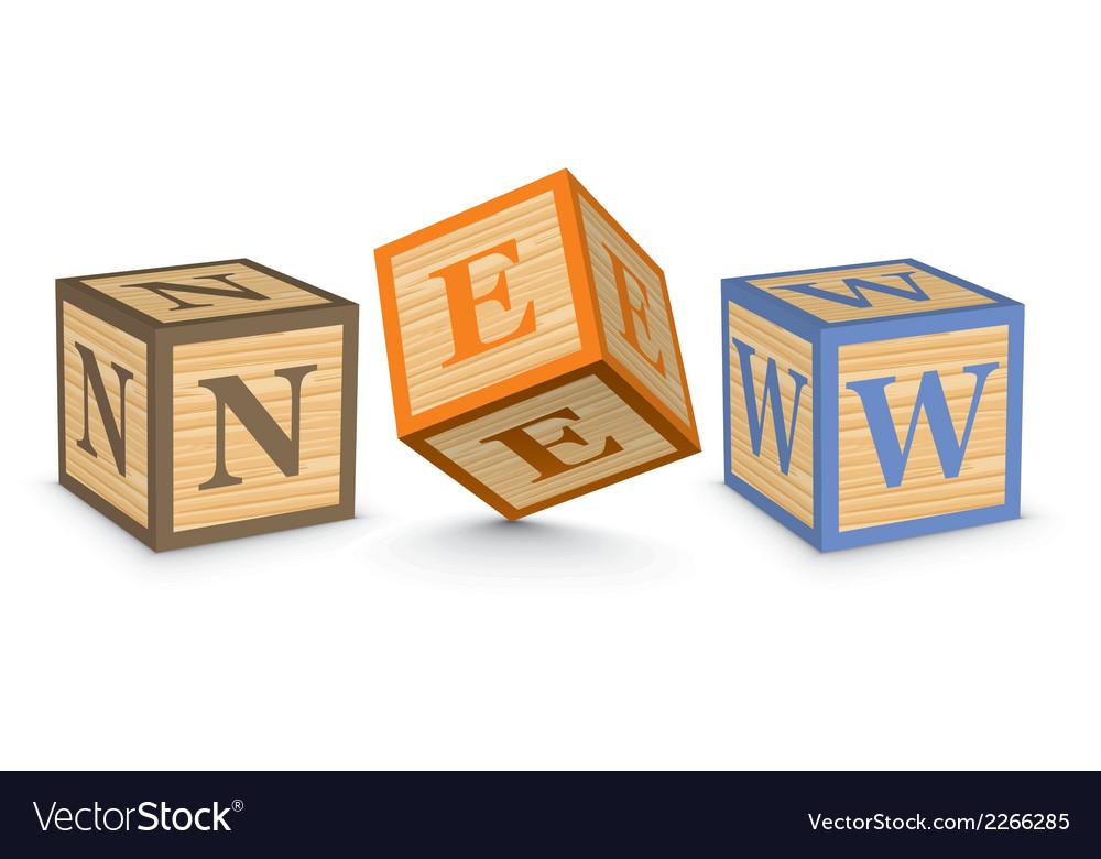 Word new written with alphabet blocks vector | Price: 1 Credit (USD $1)