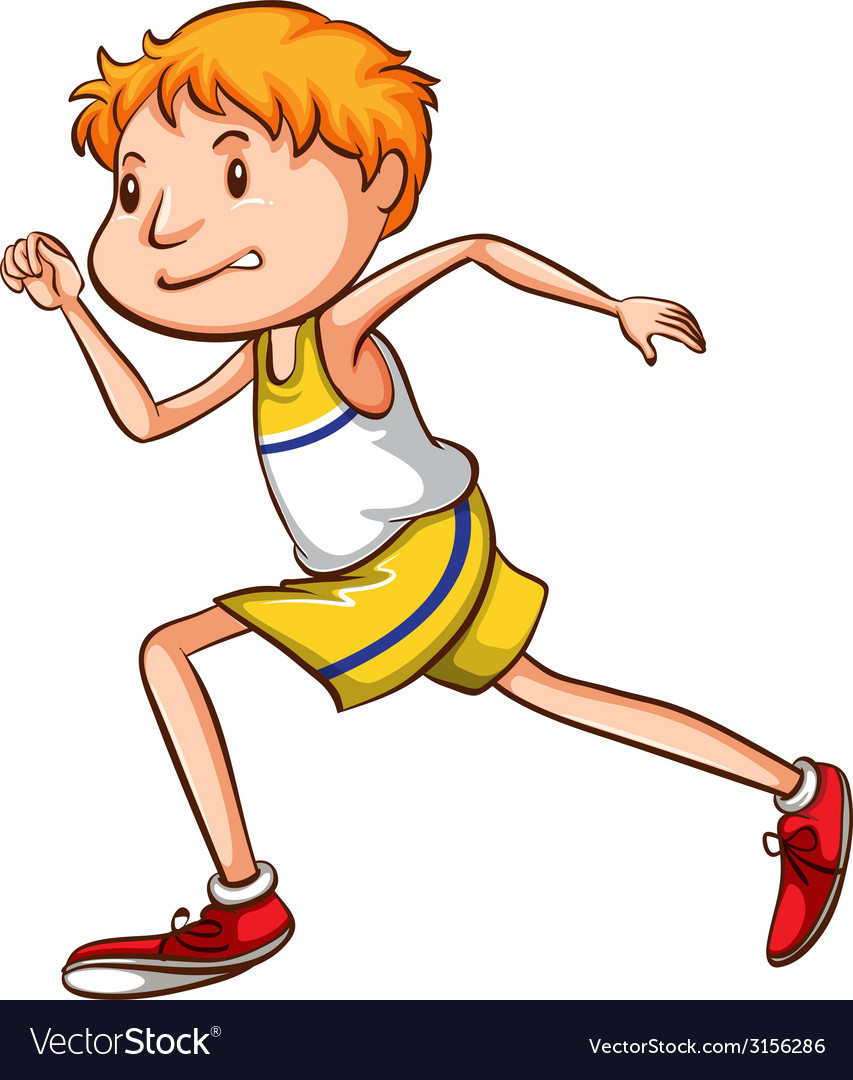 A simple drawing of a boy running vector | Price: 1 Credit (USD $1)