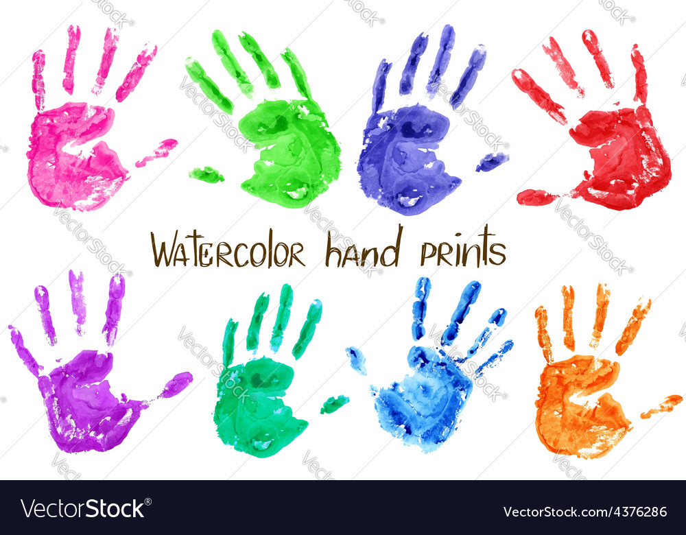 Collection of watercolor hand print vector | Price: 1 Credit (USD $1)