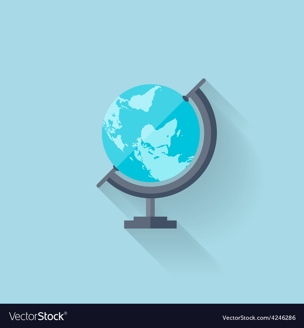 Flat school geographical earth globe vector | Price: 1 Credit (USD $1)