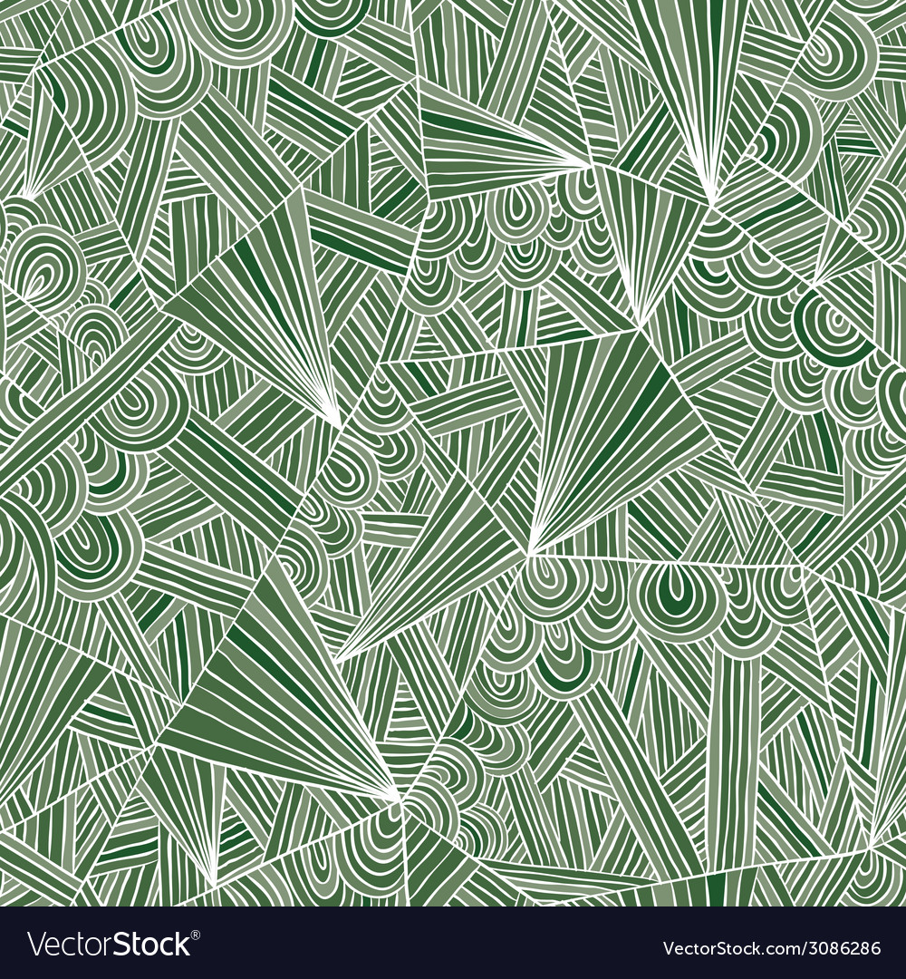 Green doddle seamless pattern vector | Price: 1 Credit (USD $1)