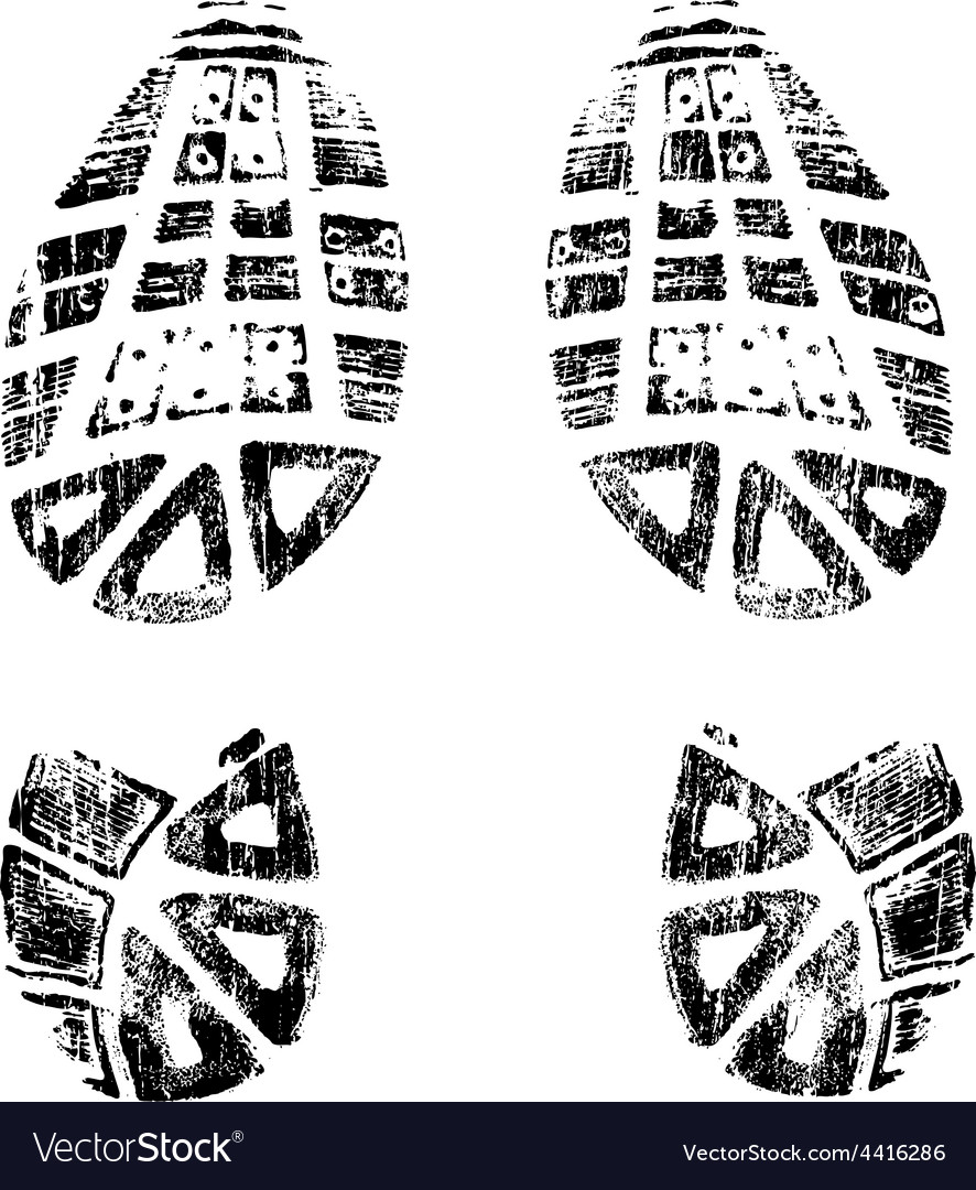 Grungy bootprints left and right very detailed vector | Price: 1 Credit (USD $1)
