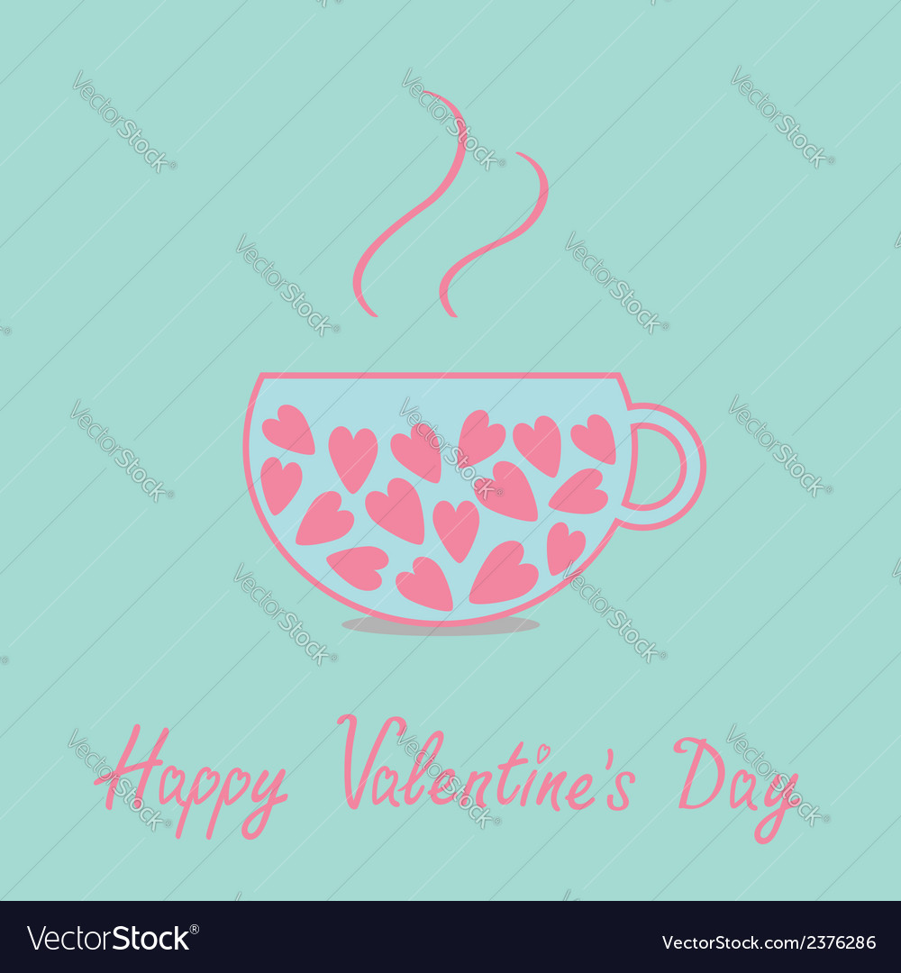Love teacup with pink hearts valentines day vector | Price: 1 Credit (USD $1)