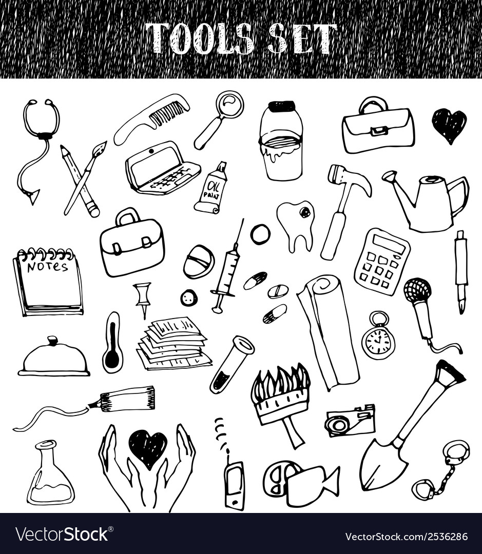 Professional tools doodles set vector | Price: 1 Credit (USD $1)