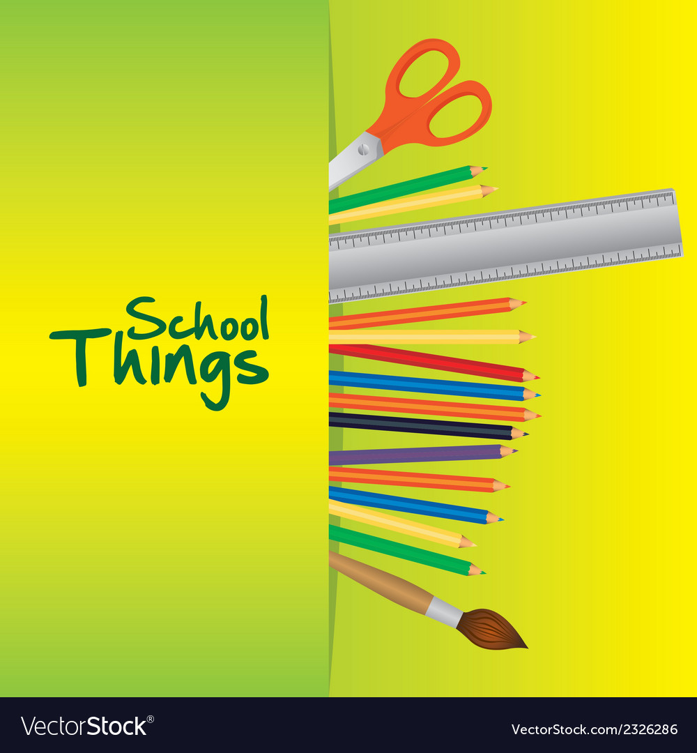 School things useful school over green background vector | Price: 1 Credit (USD $1)