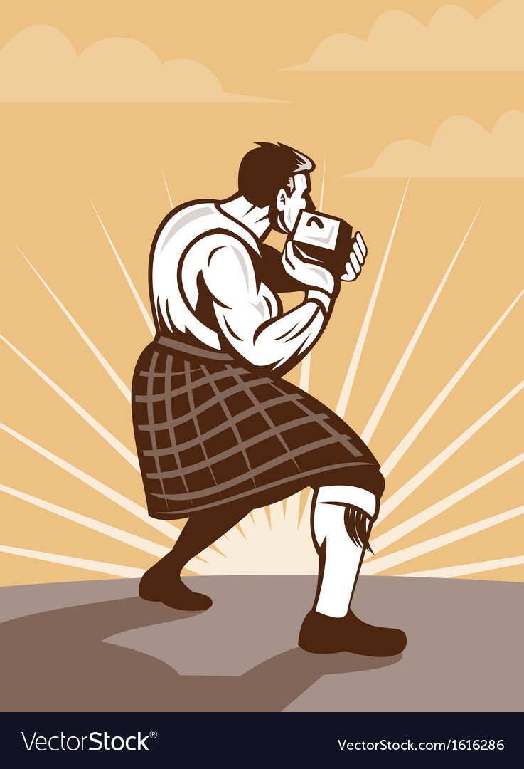 Scot scotsman throwing weight stone put vector | Price: 1 Credit (USD $1)