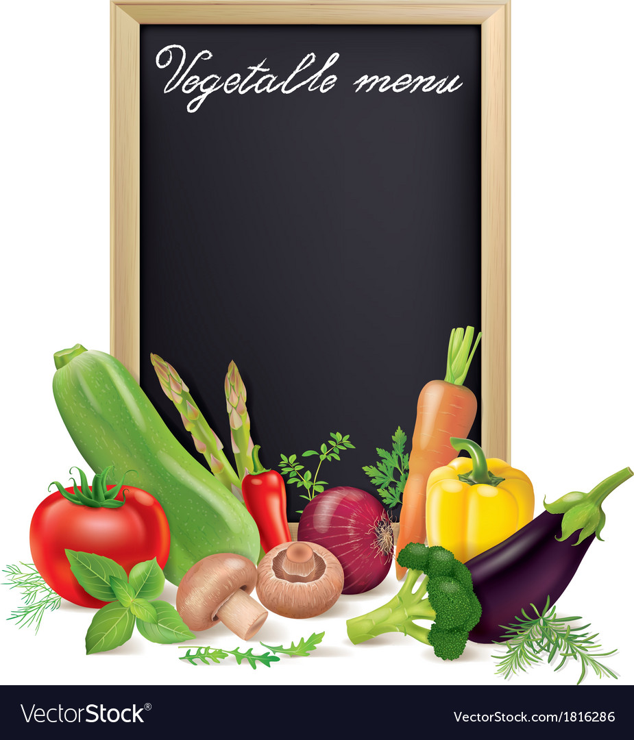 Vegetable menu board and vegetables vector | Price: 1 Credit (USD $1)