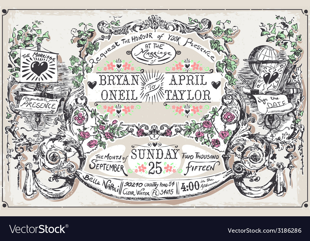 Vintage wedding hand drawn banners and labels vector | Price: 3 Credit (USD $3)