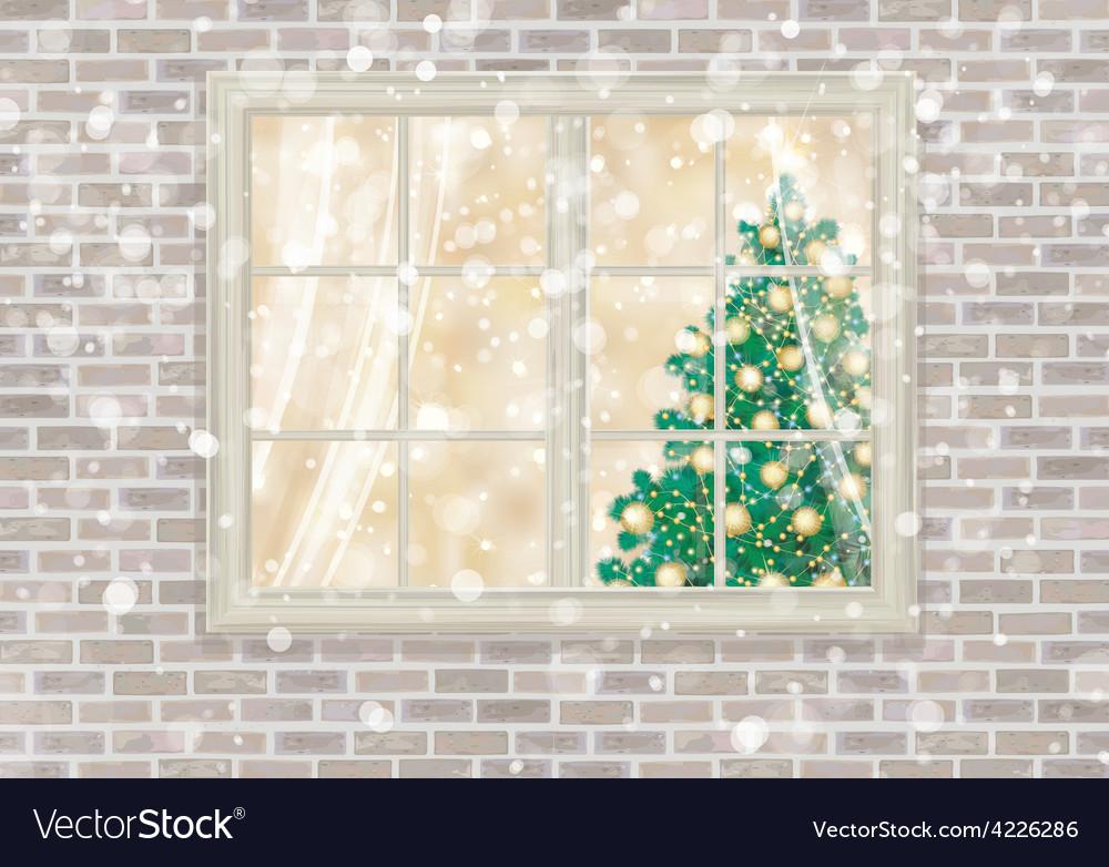 Winter window christmas vector | Price: 1 Credit (USD $1)
