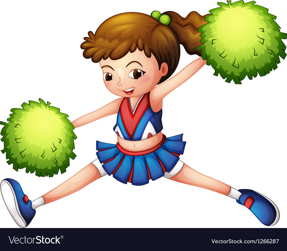 A cheerdancer with a green ponytail and green vector | Price: 1 Credit (USD $1)