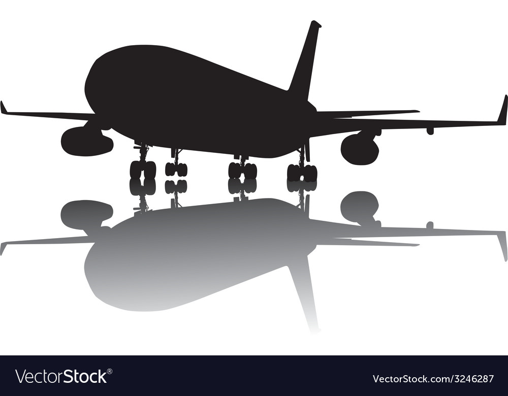 Airliner silhouette vector | Price: 1 Credit (USD $1)