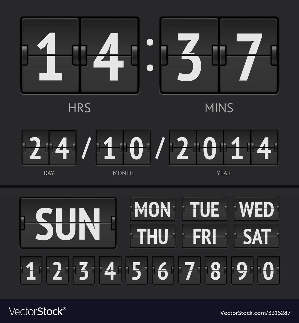 Analog black scoreboard digital week timer vector | Price: 1 Credit (USD $1)