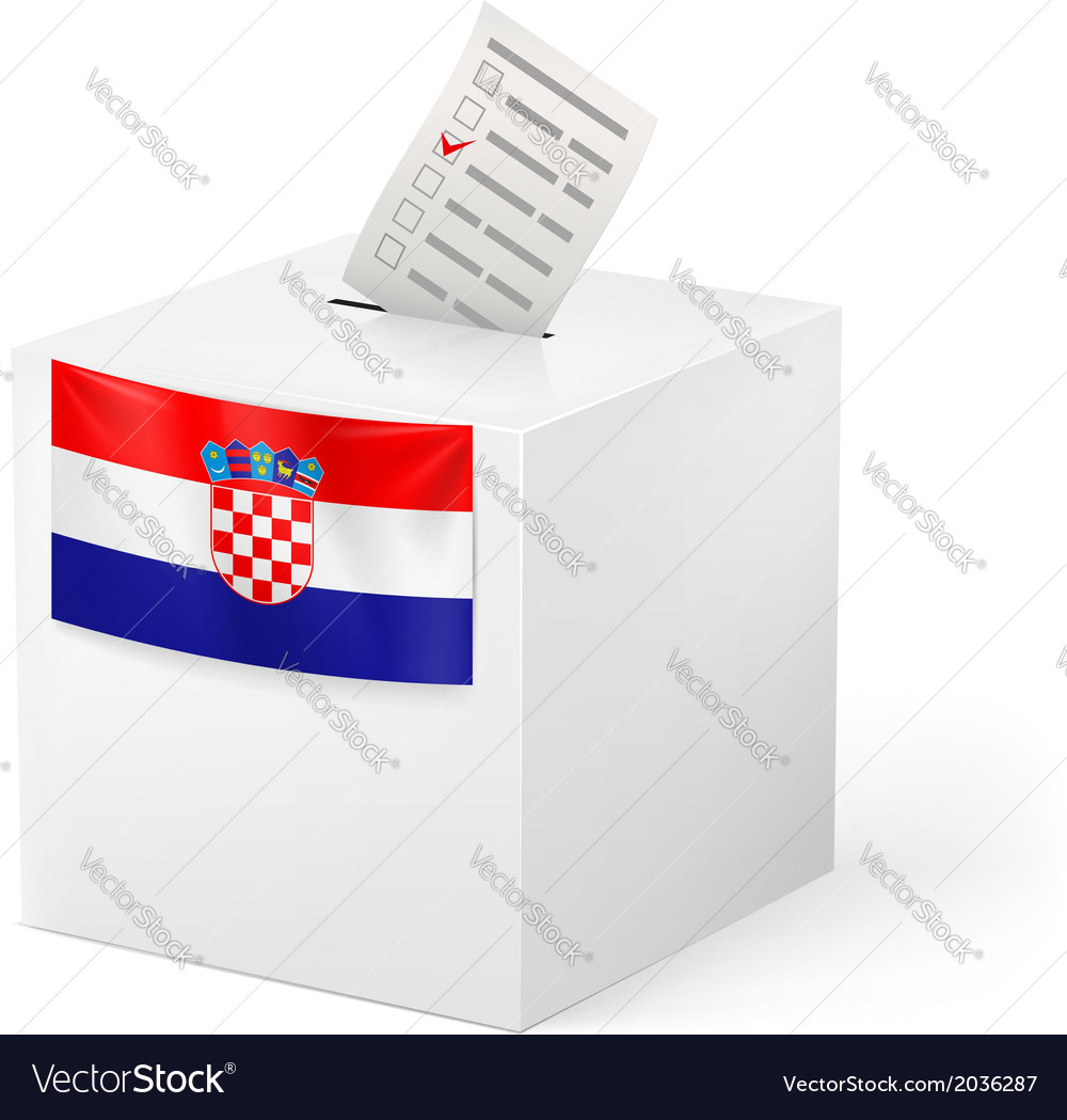 Ballot box with voting paper croatia vector | Price: 1 Credit (USD $1)