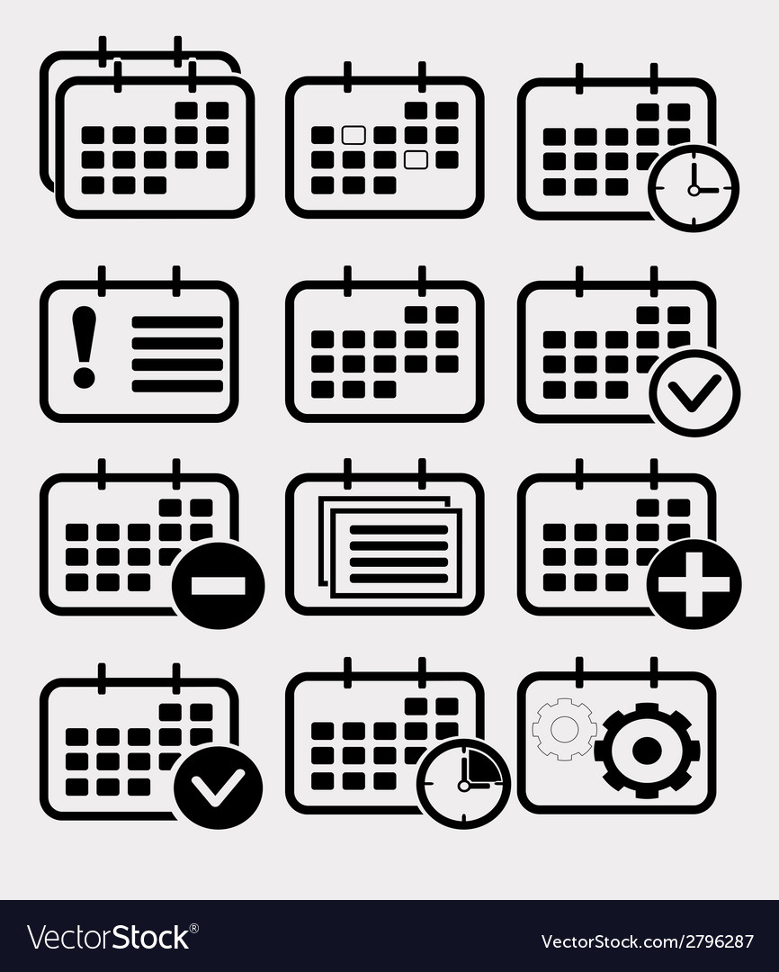 Calendar icon set vector | Price: 1 Credit (USD $1)