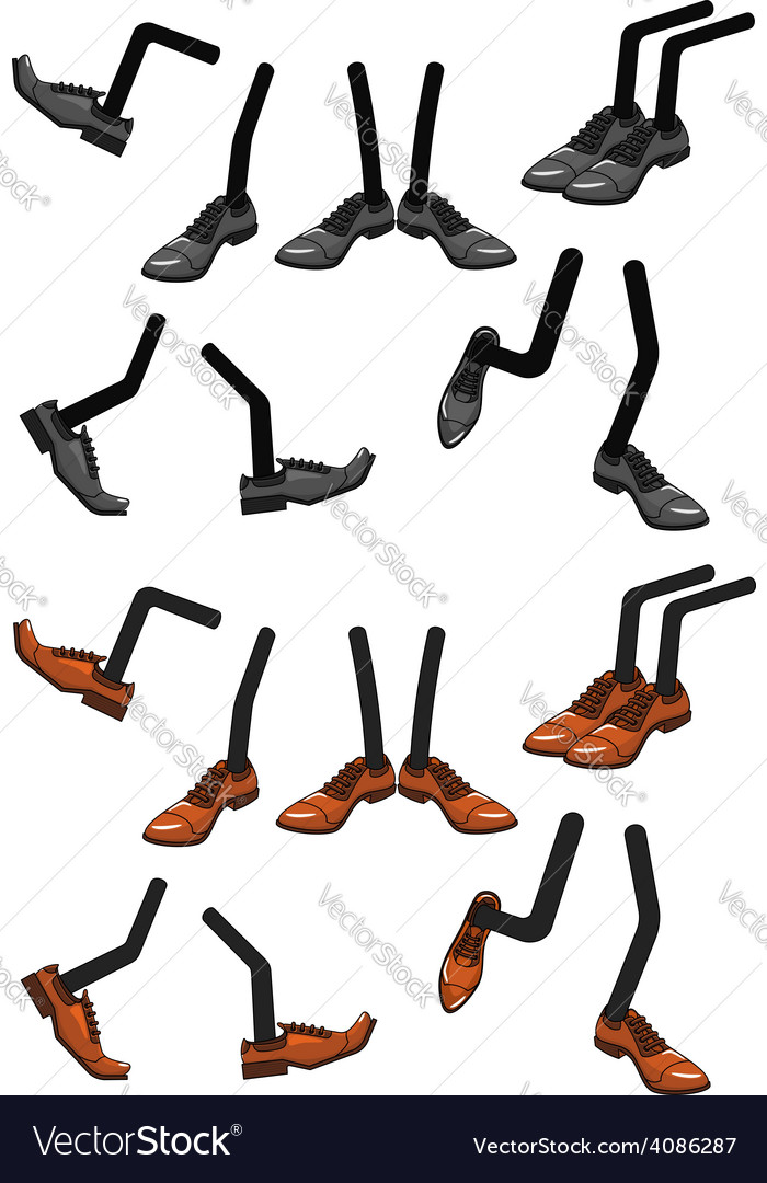 Cartoon character foots in shoes vector | Price: 1 Credit (USD $1)