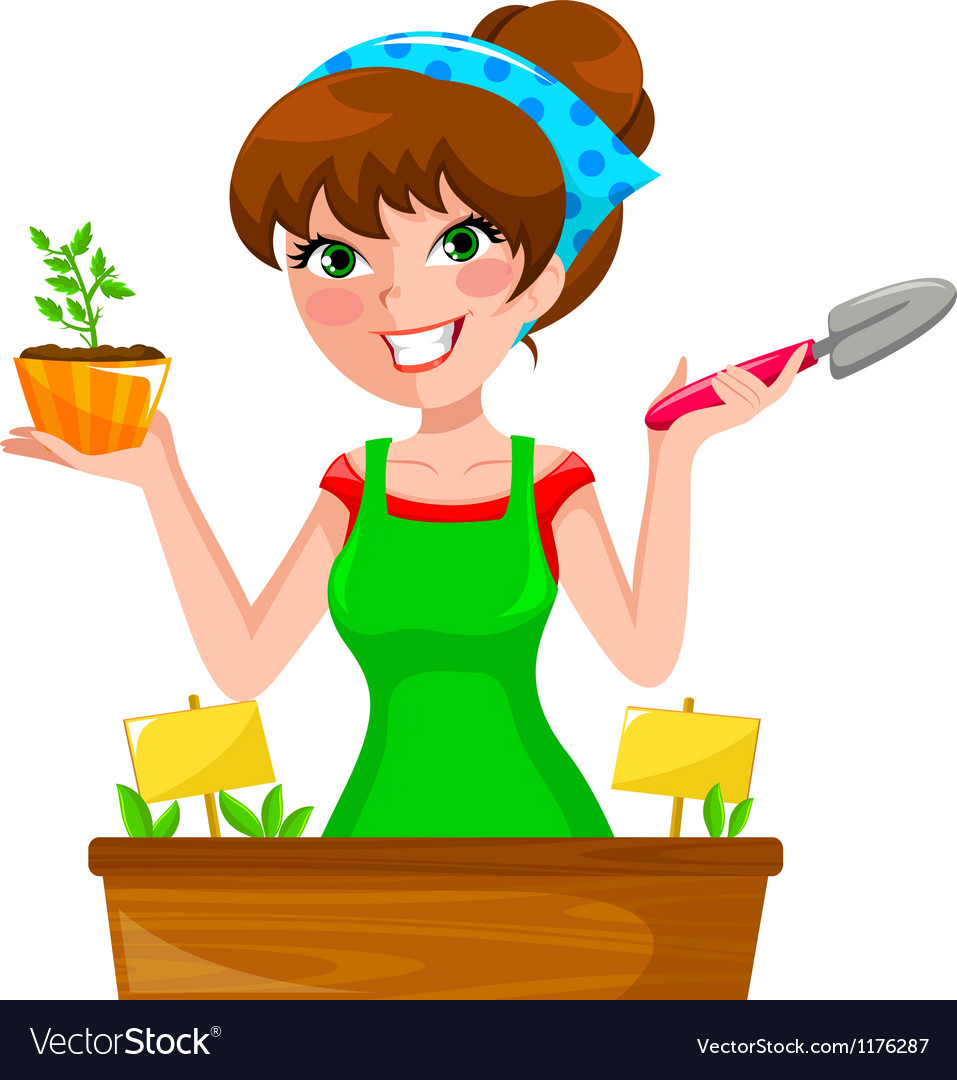 Gardenning girl vector | Price: 3 Credit (USD $3)