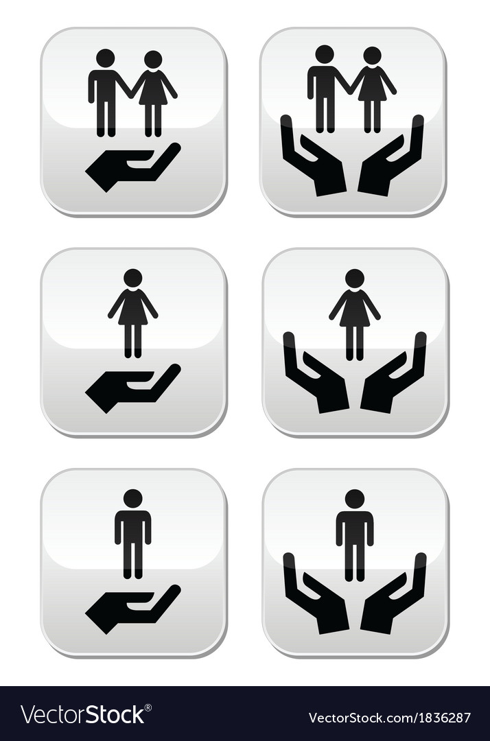 Man woman and couples with hands buttons set vector | Price: 1 Credit (USD $1)