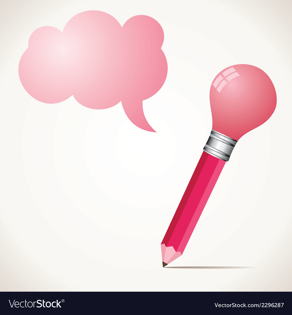 Pink bulb pencil with message bubble stock vector | Price: 1 Credit (USD $1)