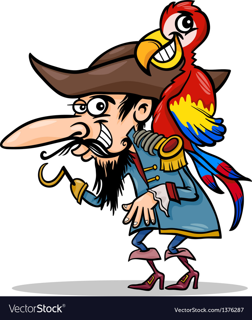 Pirate with parrot cartoon vector | Price: 1 Credit (USD $1)