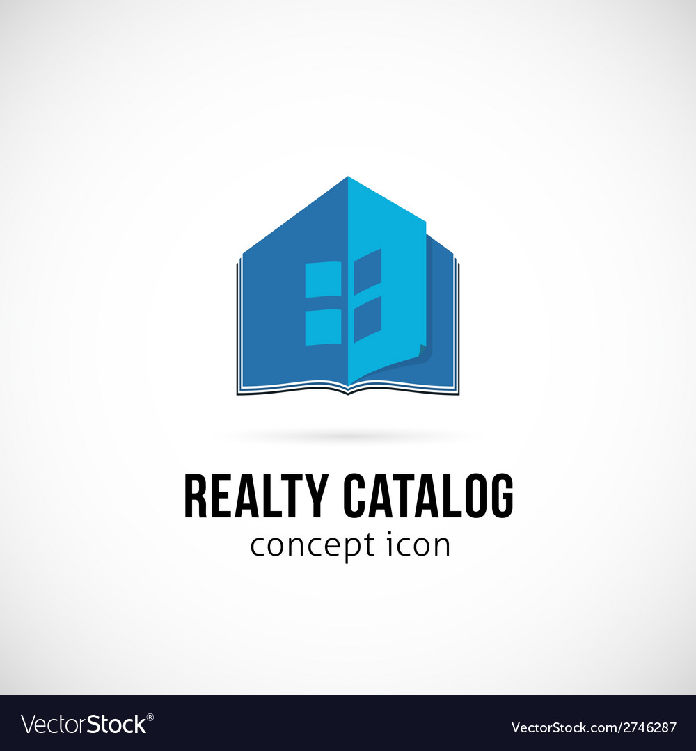 Real estate catalog concept symbol icon or logo vector | Price: 1 Credit (USD $1)