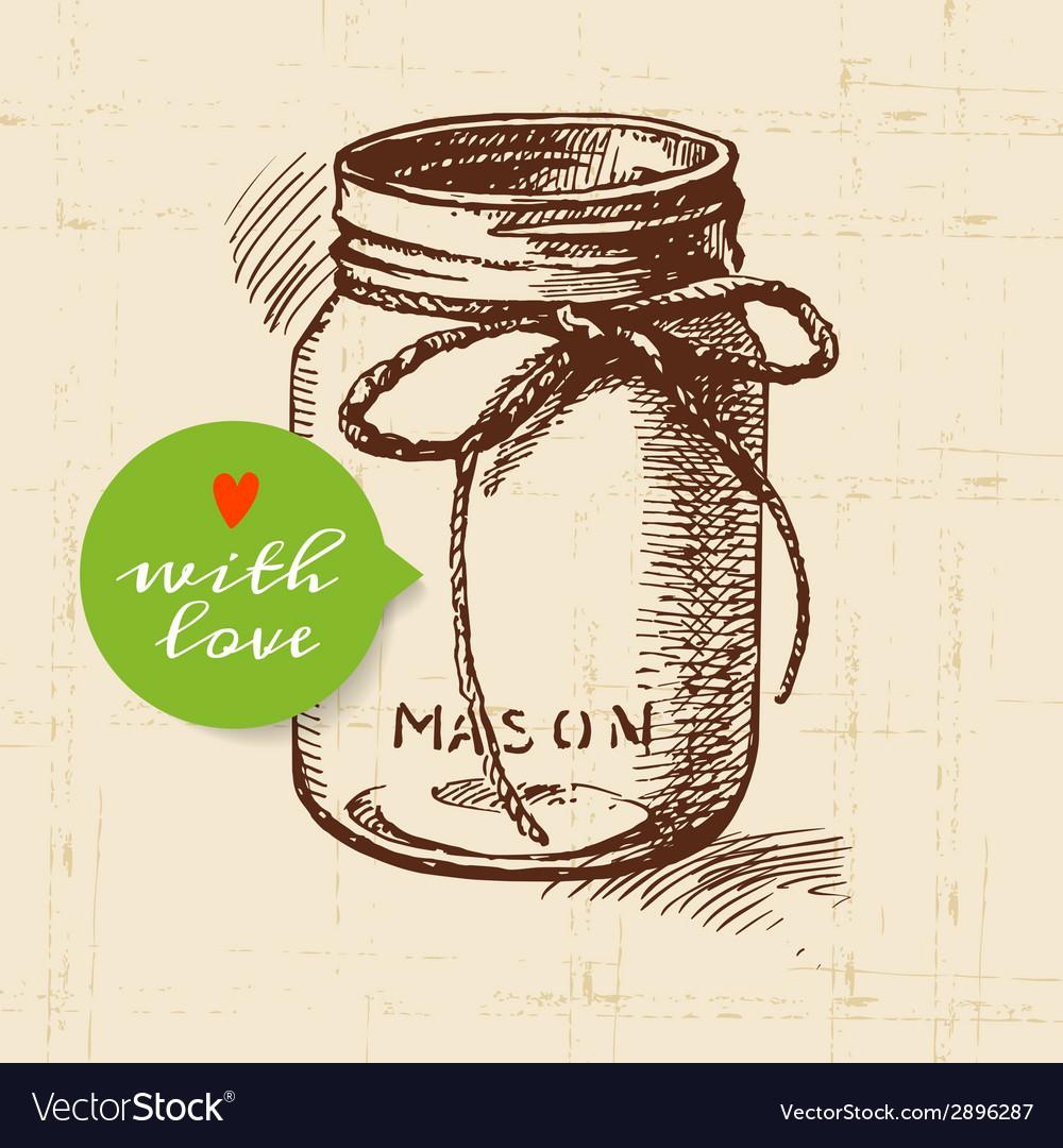 Rustic mason canning jar vintage hand drawn sketch vector   Price: 1 Credit (USD $1)