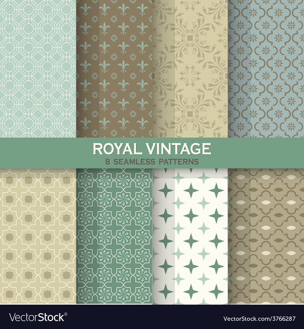 Seamless backgrounds collection - vintage tile vector
