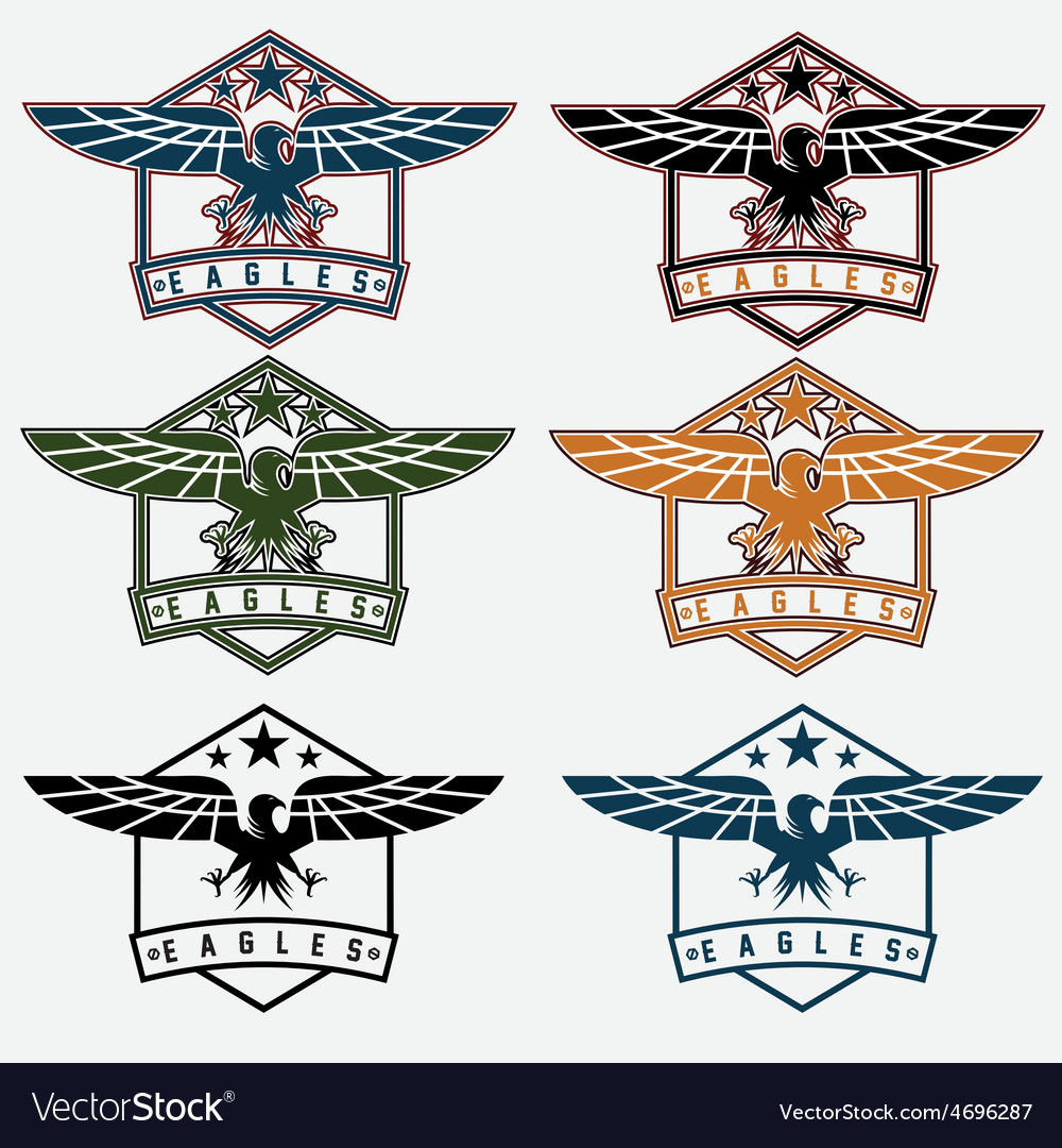 Set of crests with eagles vector | Price: 1 Credit (USD $1)