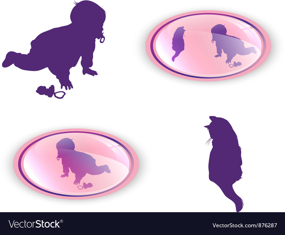 Silhouettes of child with cat vector | Price: 1 Credit (USD $1)