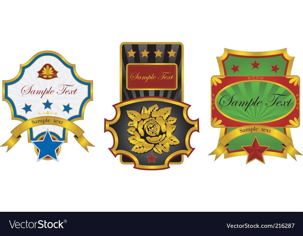 Three labels decorated with gold vector | Price: 1 Credit (USD $1)