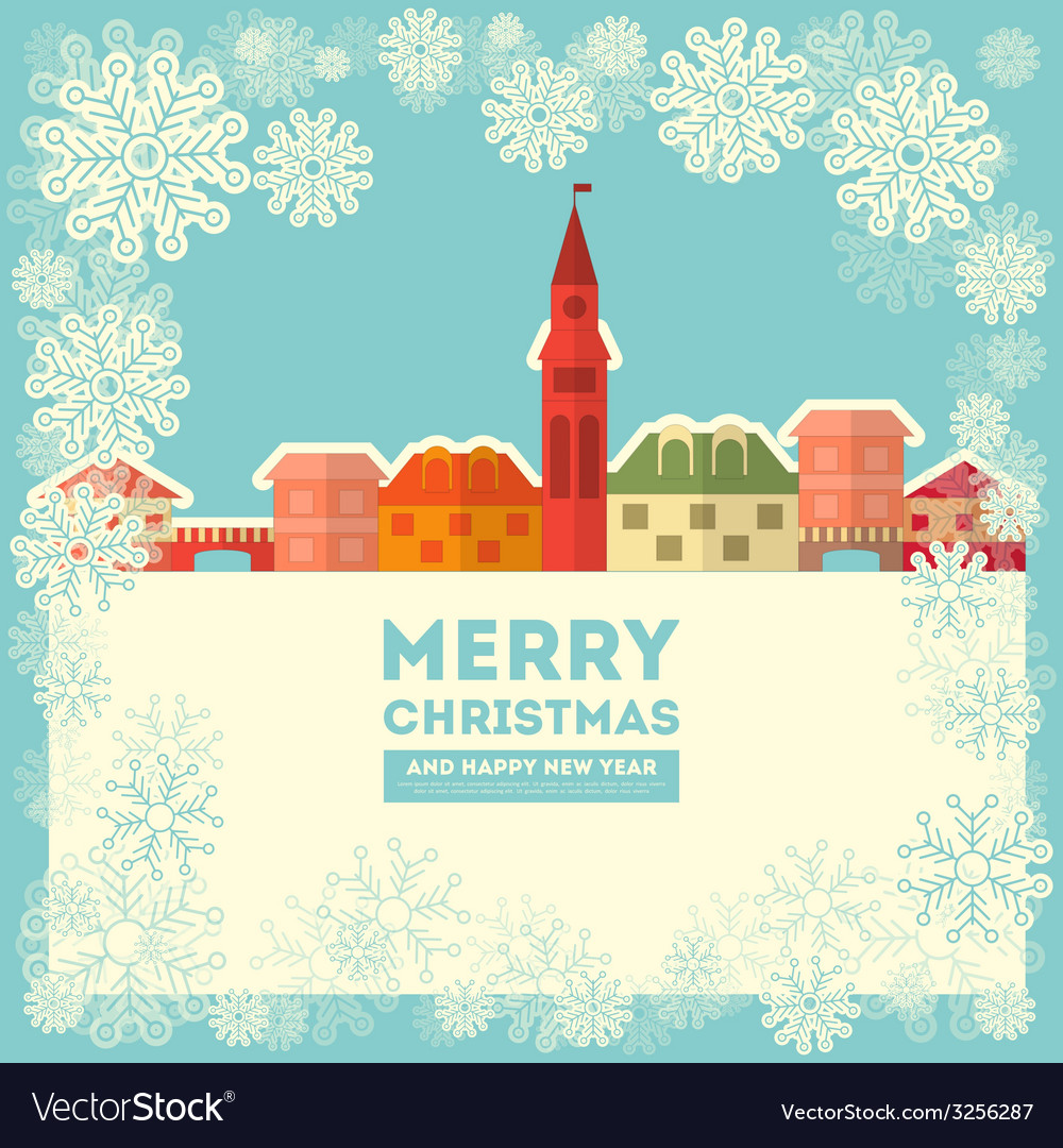 Winter little town vector | Price: 1 Credit (USD $1)
