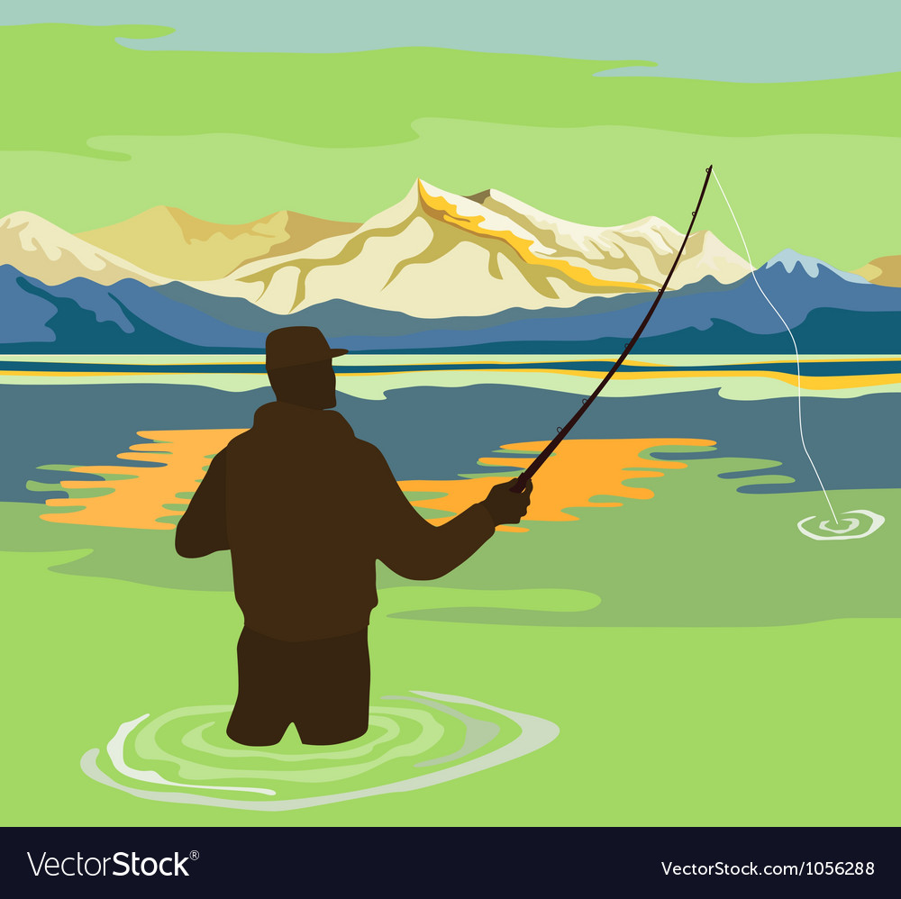 Fly fisherman rod and reel retro vector | Price: 1 Credit (USD $1)