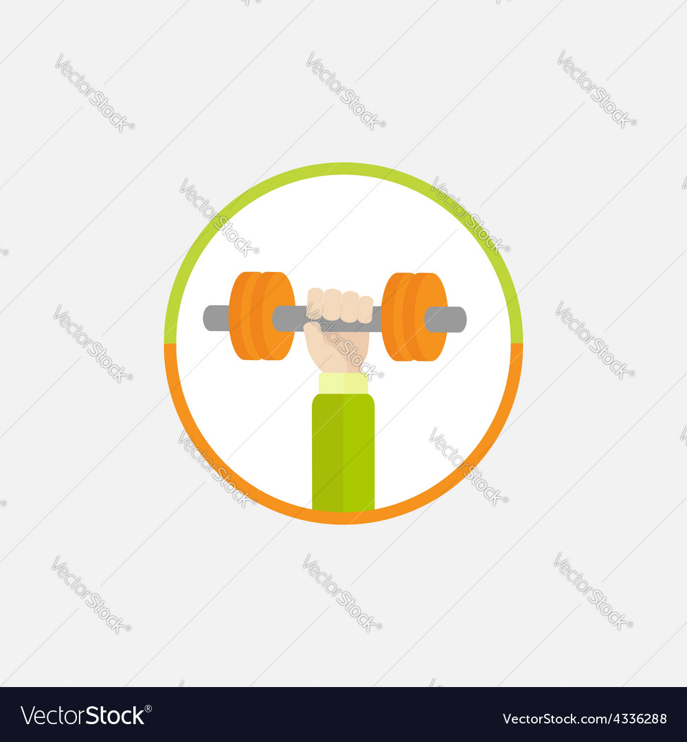 Hand holding dumbell round colored icon sport vector | Price: 1 Credit (USD $1)