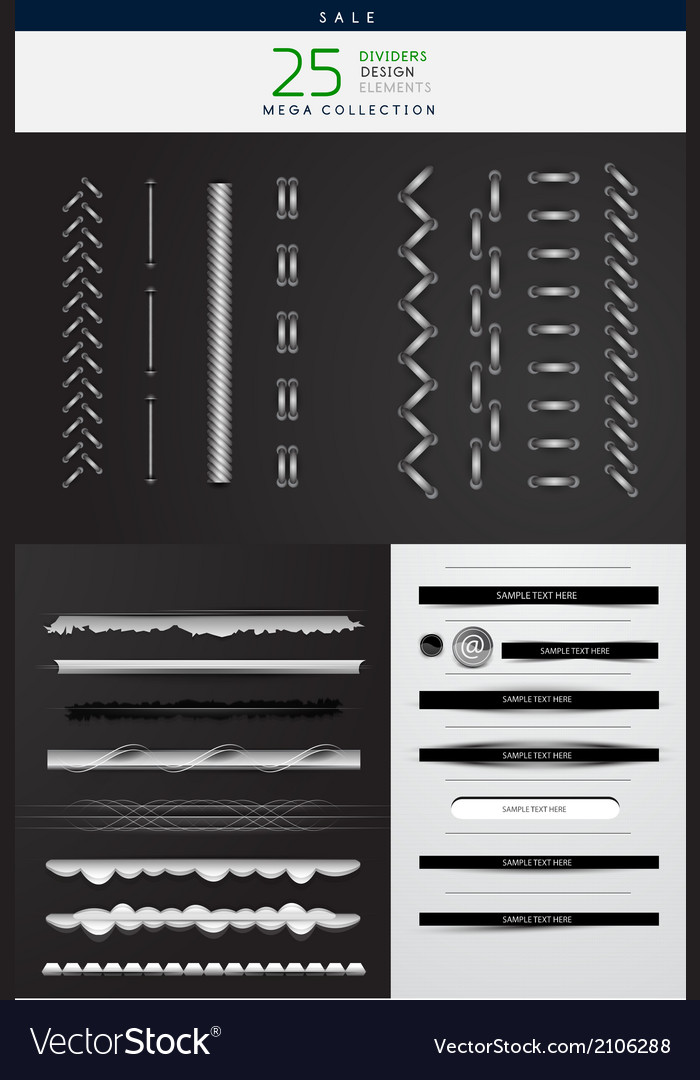 High detailed stitches and dividers set vector | Price: 1 Credit (USD $1)