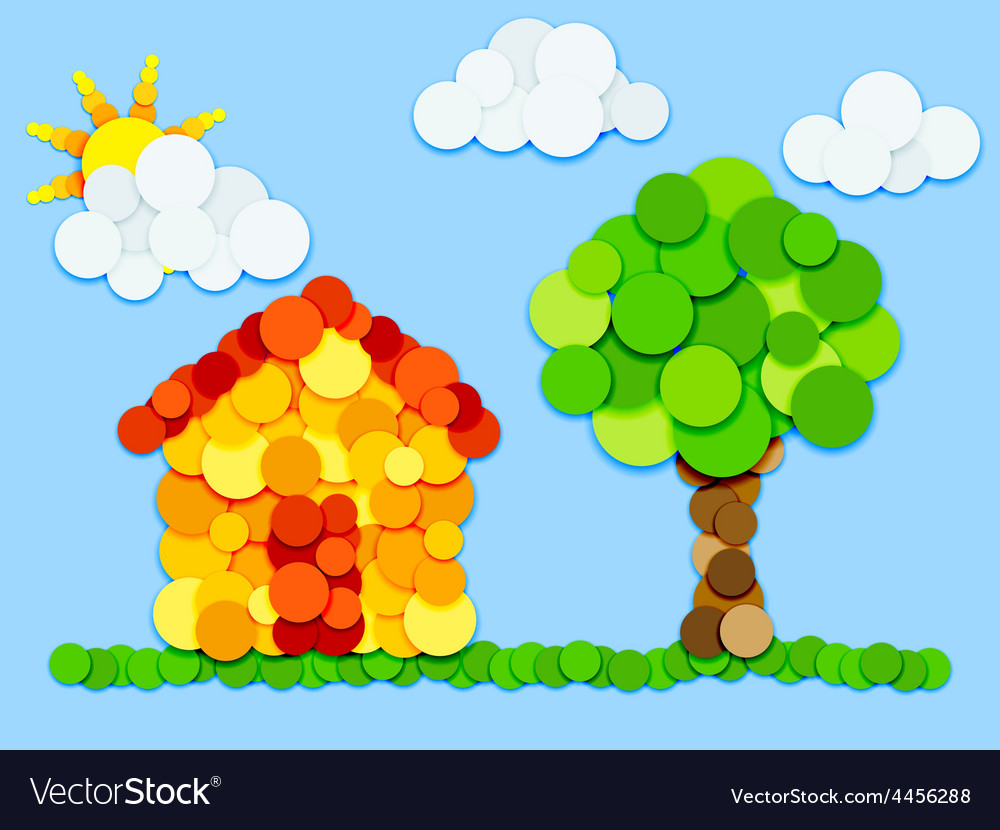 House and tree in color circles vector | Price: 1 Credit (USD $1)