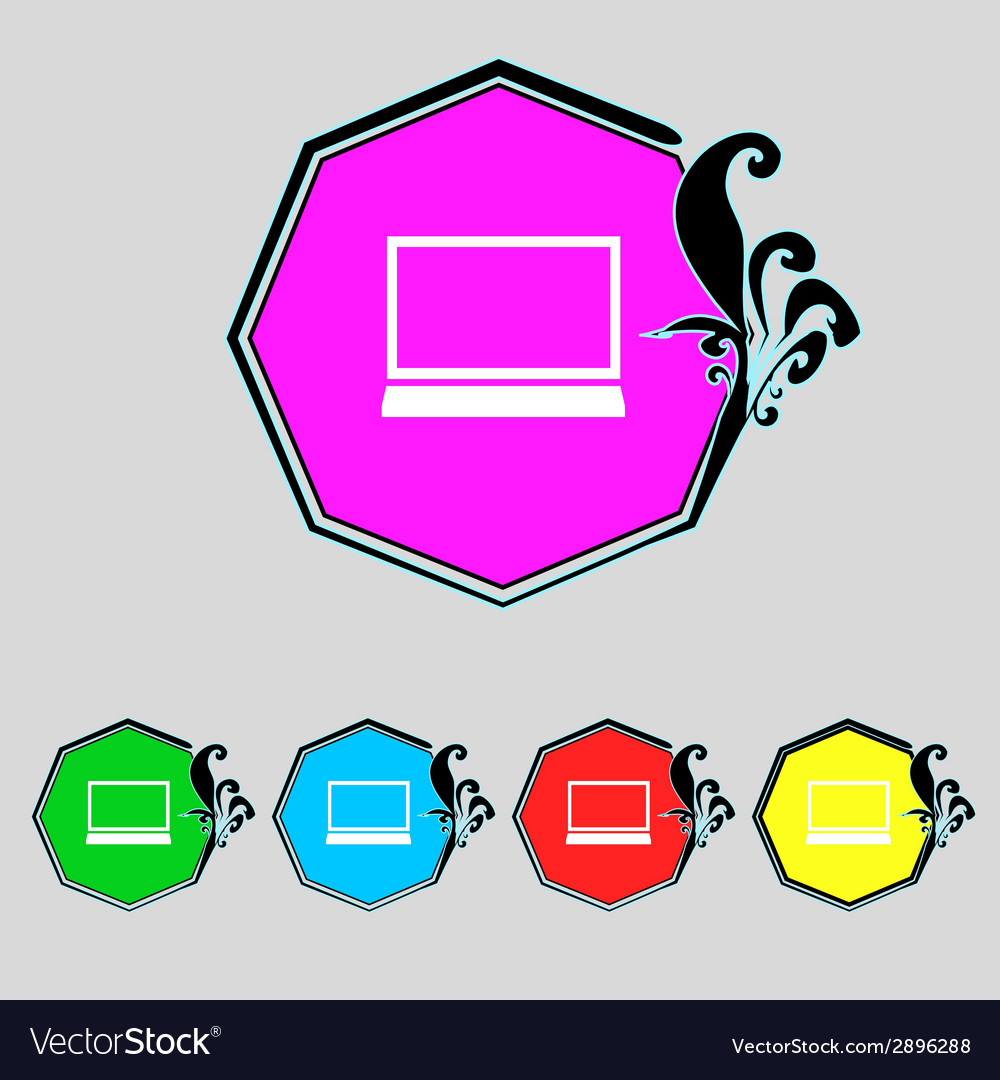Laptop sign icon notebook pc symbol set colur vector | Price: 1 Credit (USD $1)