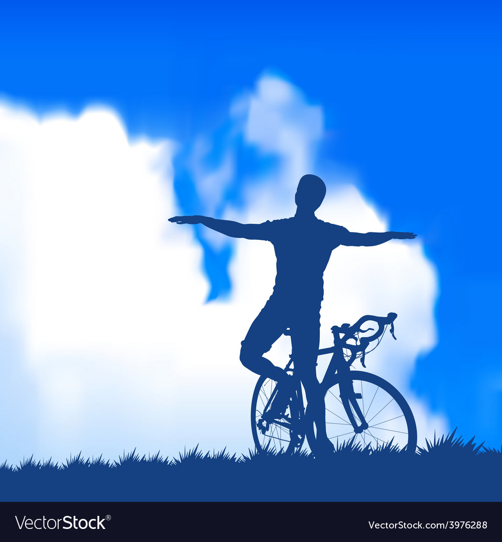 Silhouette of a cyclist vector   Price: 1 Credit (USD $1)
