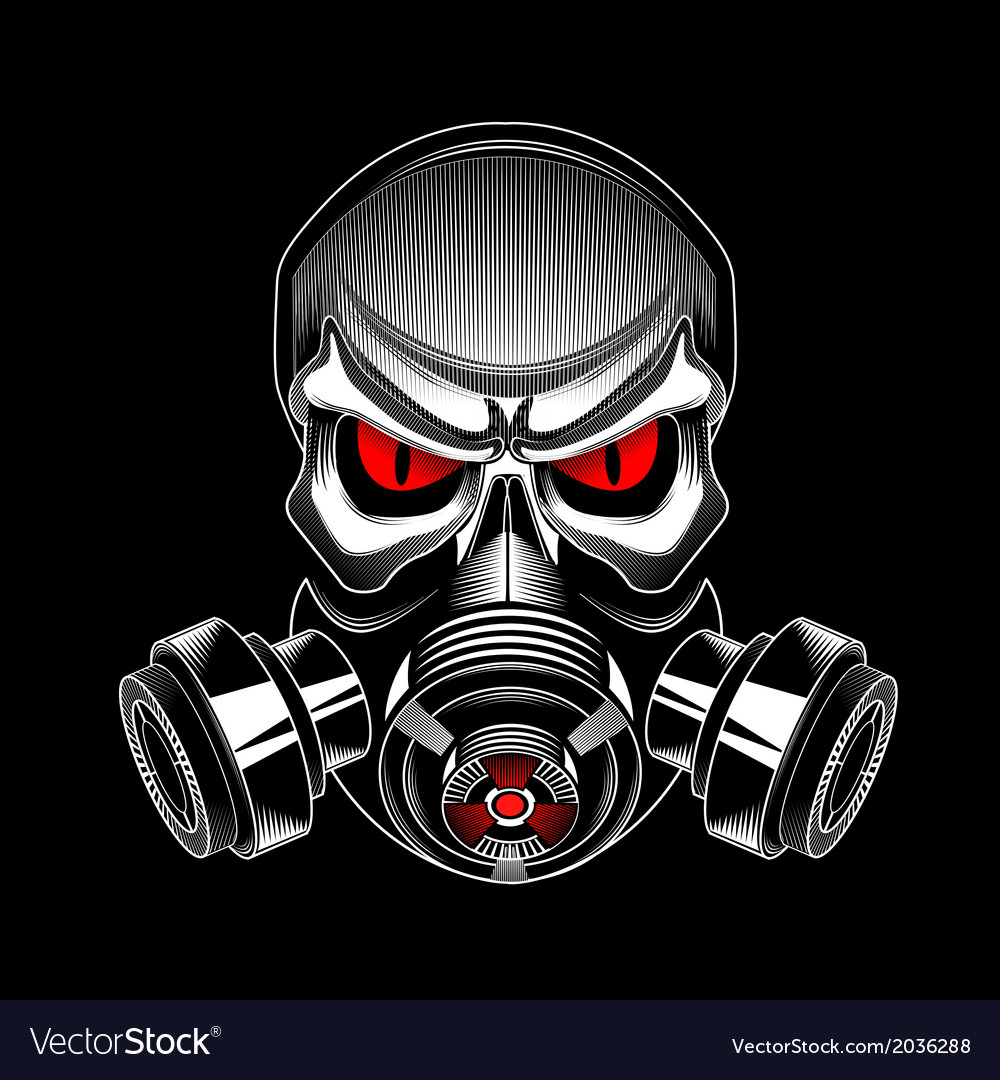 Skull wearing a gas mask vector | Price: 1 Credit (USD $1)