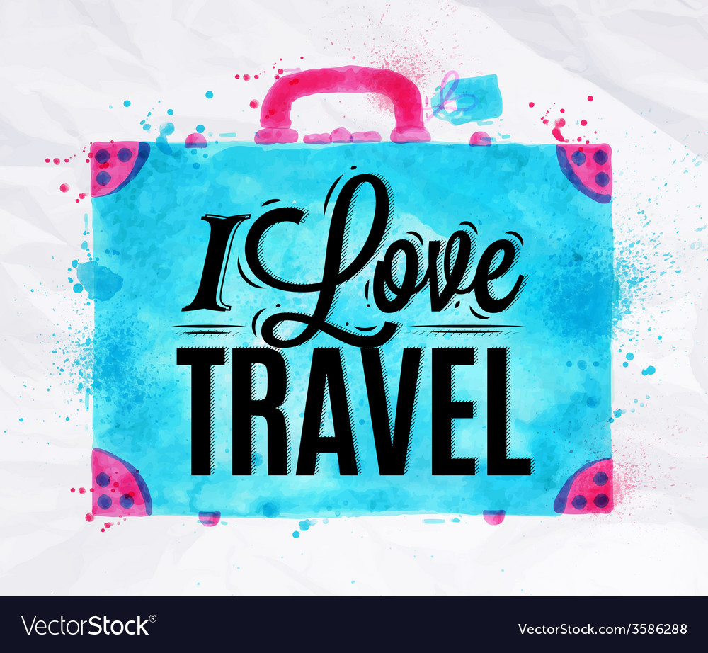 Suitcase watercolors travel vector | Price: 1 Credit (USD $1)