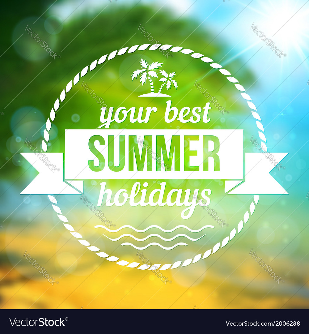 Summer tropical background with text badge vector | Price: 1 Credit (USD $1)