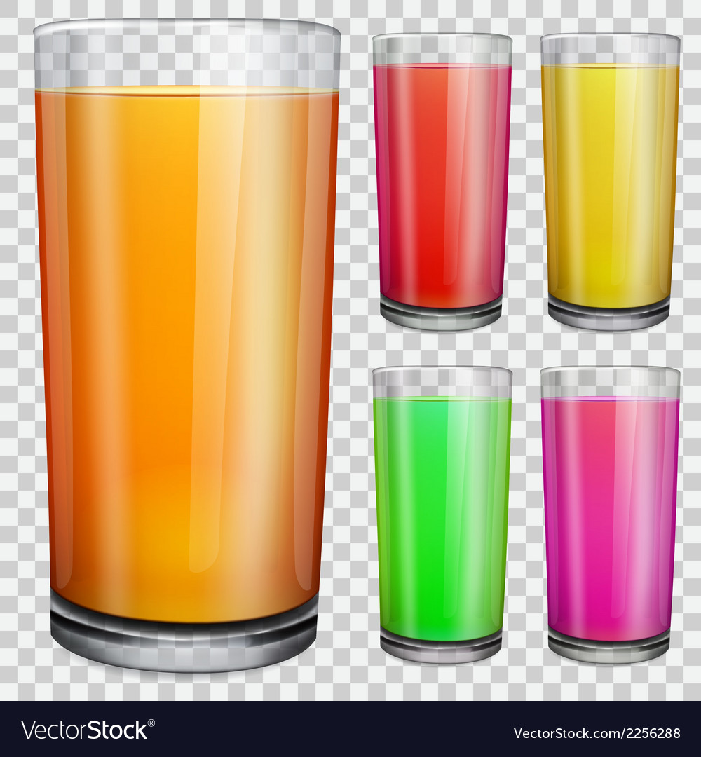 Transparent glasses with opaque colored juice vector | Price: 1 Credit (USD $1)